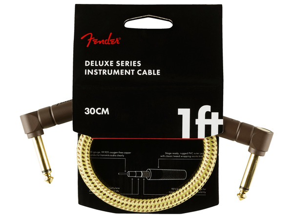FENDER Deluxe Series Instrument Cable Angle/Angle 30cm Tweed