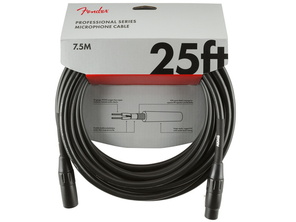 FENDER Professional Series Microphone Cable 7.5m Black